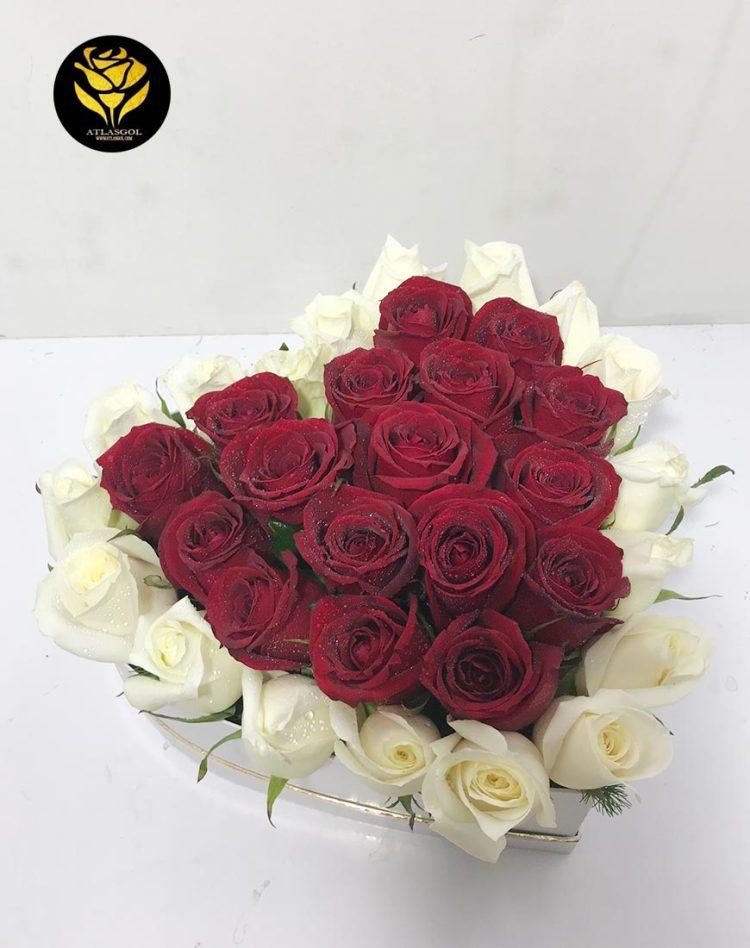 باکس گل سفید قلب