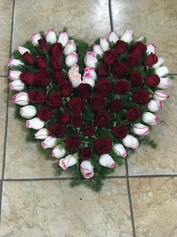 باکس قلب گل رز کد 456